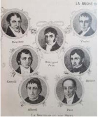 Retrato grupal de la Sociedad de los Siete que incluye a Belgrano