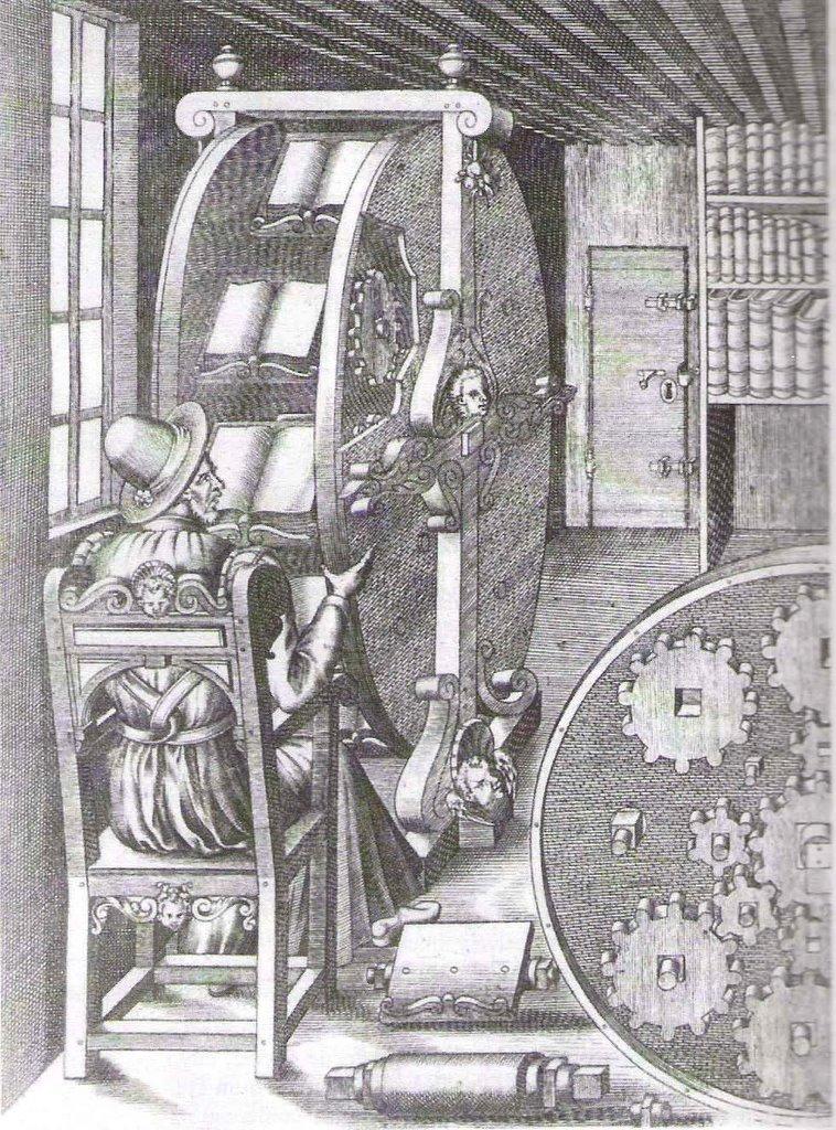 Grabado del siglo XVI que representa una máquina de leer que como una rueda sostiene varios libros a la vez.