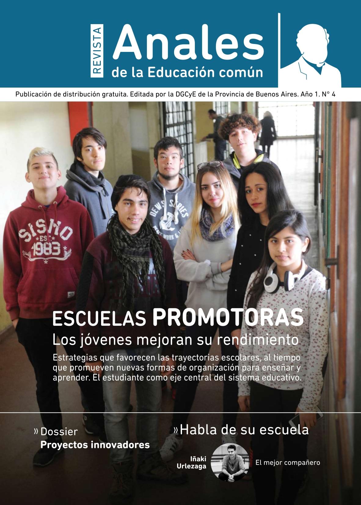 Escuela promotoras. Los jóvenes mejoran su rendimiento. Portada de la revista Anales de la Educación común