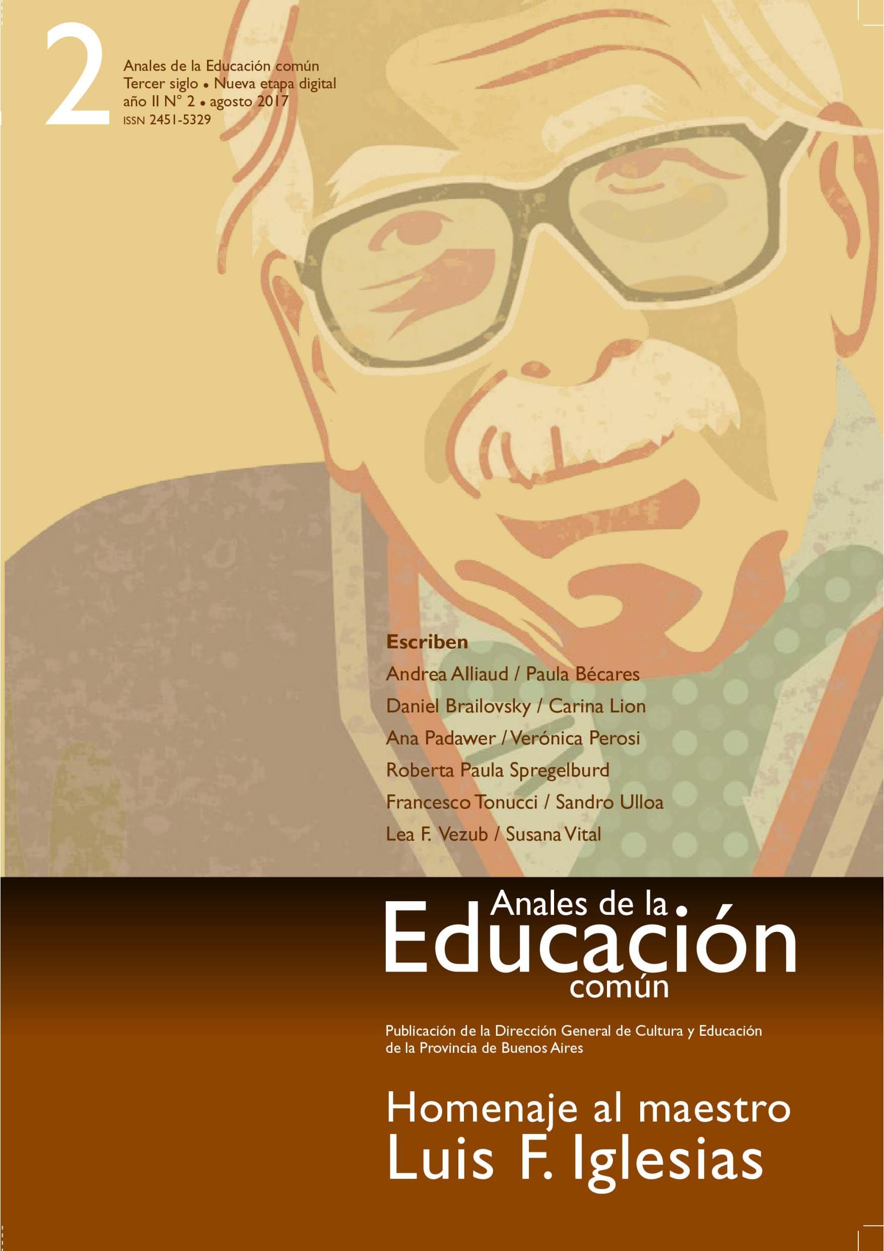 Tapa de la revista Anales de la Educación Común número 2. Homenaje al maestro Luis F. Iglesias.