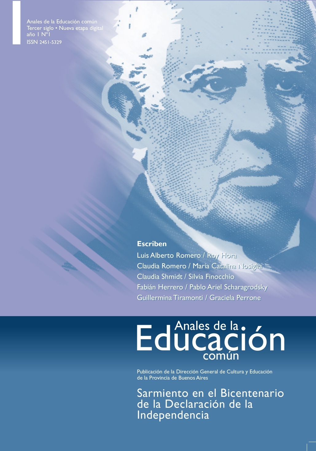Tapa de la revista Anales de la Educación Común número 1. Sarmiento en el Bicentenario de la Declaración de la Independencia